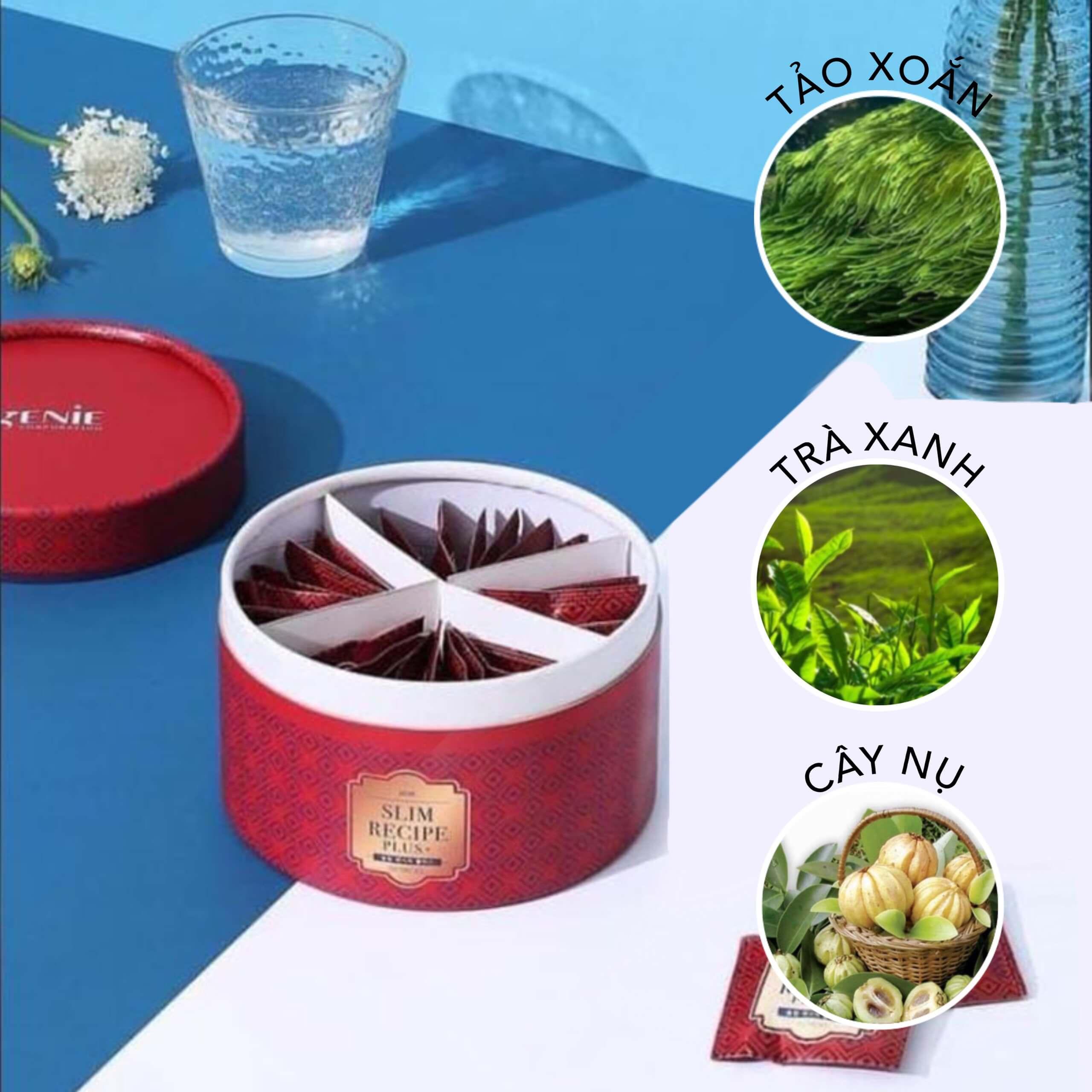 Viên uống giảm cân tảo xoắn Slim Recipe Plus + Genie