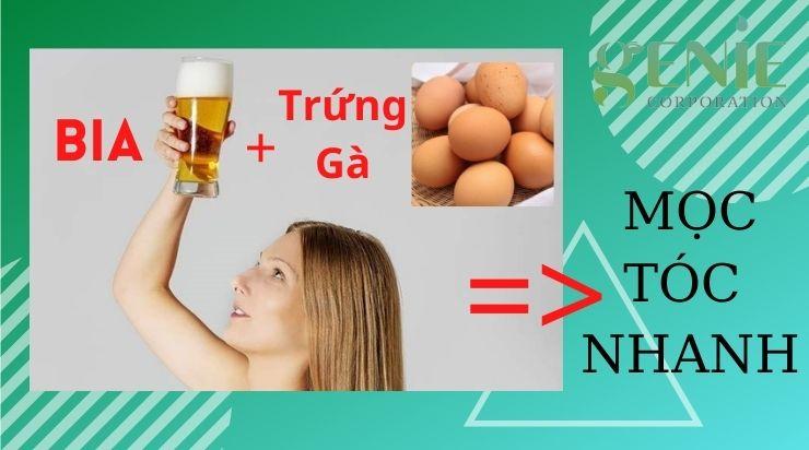 Gội đầu bằng bia và trứng gà