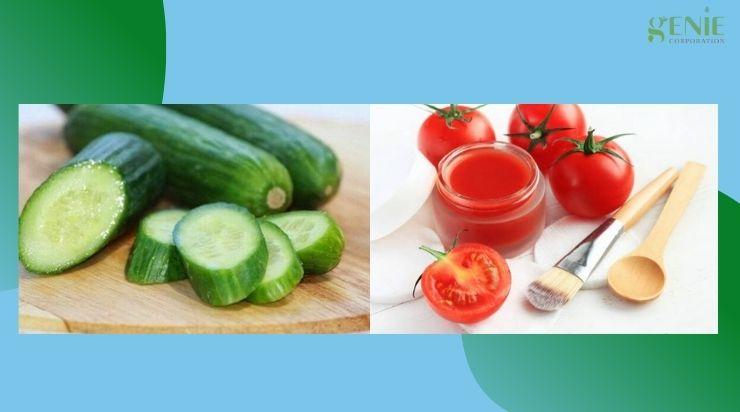 Cách trị mụn bằng dưa leo và cà chua
