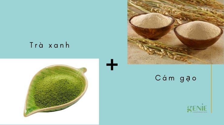 Làm trắng da bằng bột trà xanh và cám gạo