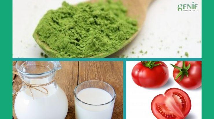 Làm mịn da mặt bằng trà xanh và sữa tươi với cà chua