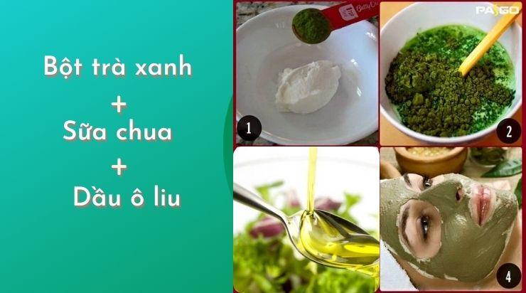 Mặt nạ trà xanh và sữa chua không đường dầu ô liu láng mịn da