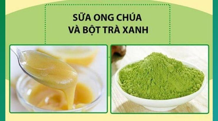 Làm trắng da với bột trà xanh và sữa ong chúa