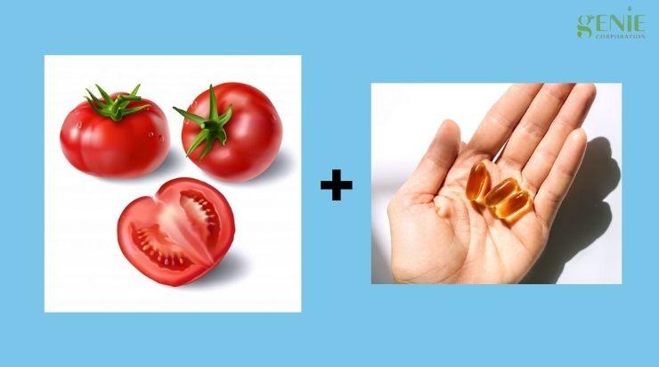 Làm sạch mụn bằng cà chua và vitamin E